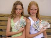 Two Girls With The Byelorussian Money