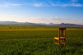 Sunset With Old Chair In The Spring Field In Central Bohemian Highlands, Czech Republic. Central Boh poster