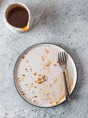 Empty Dirty Dish After Cheesecake With Dessert Fork. Caramel Sauce In Sauceboat. White Rustic Trendy poster