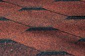 Asphalt Bitumen Shingles Photo. Close Up View On Asphalt Roofing Shingles Background. Roof Shingles  poster