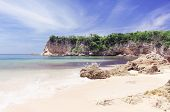 Pastel Toned Seaside Summer Vacation Location. View On Calm Sea And Rocky Shores, Macao Beach Domini poster