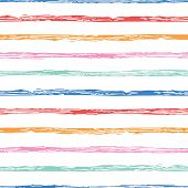 Horizontal Seamless Grunge Brush Striped Pattern. Colorful Stripes On White Background. Seamless Pat poster