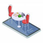 Online Reserved Table In Cafe Or Restaurant With Mobile App Isometric Concept. Illustration Of Isome poster