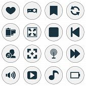 Multimedia Icons Set With Sync, Artists, Backward And Other Target Elements. Isolated  Illustration  poster