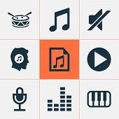 Multimedia Icons Set With Playlist, Note, Drum And Other Silence Elements. Isolated Vector Illustrat poster