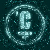 Carbon Chemical Element. Sign With Atomic Number And Atomic Weight. Chemical Element Of Periodic Tab poster