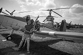 Wings Are For Flying. Woman And Man With Boy Child At Helicopter. Happy Family Vacation. Family Coup poster