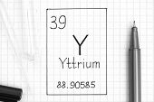 The Periodic Table Of Elements. Handwriting Chemical Element Yttrium Y With Black Pen, Test Tube And poster