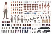 Elegant African American Guy Creation Set Or Diy Kit. Bundle Of Body Parts, Clothing, Faces, Poses,  poster