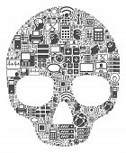 Skull Collage Icon Organized For Bigdata And Computing Illustrations. Vector Skull Mosaics Are Compo poster