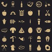 Nature Barbecue Icons Set. Simple Style Of 36 Nature Barbecue Icons For Web For Any Design poster