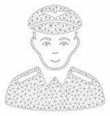 Mesh Aviator Polygonal 2d Illustration. Abstract Mesh Lines And Dots Form Triangular Aviator. Wire F poster