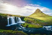 Breathtaking Sunrise Over Kirkjufell Mountain Landscape And Waterfall In Iceland Summer. Kirjufell I poster
