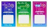 Online Video Blog For Sicial Media Set Of Templates Vector Illustration. Popular Videoblogger. Lapto poster