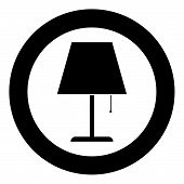 Table Lamp Night Lamp Clasic Lamp Icon In Circle Round Black Color Vector Illustration Flat Style Si poster