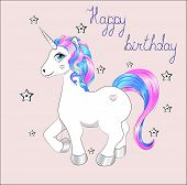 Funny Little Unicorn Pony With Pink And Blue Mane, And Stars, Unicorn Happy Birthday Card poster