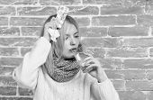 Take Medications To Reduce Fever. What To Know About Breaking Fever. Woman Tousled Hair Scarf Hold G poster