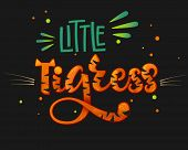 Little Tigress Color Hand Draw Calligraphy Script Lettering Text Whith Dots, Splashes And Whiskers D poster
