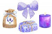 Violet Purple White Bow. Lavender Sachet With Blue Ribbon. Piece Of Violet Lavender Wrapped Soap. Pu poster