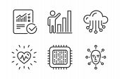 Heartbeat, Checked Calculation And Graph Chart Icons Simple Set. Cpu Processor, Cloud Storage And Fa poster