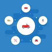 Set Of Transport Icons Flat Style Symbols With Airplane, Car, Suv And Other Icons For Your Web Mobil poster