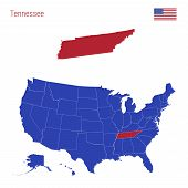 The State Of Tennessee Is Highlighted In Red. Blue Vector Map Of The United States Divided Into Sepa poster