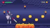 Retro Computer Games Level. Pixel Art Video Game Scene 8 Bit Warrior Character Collects Gold Coins,  poster