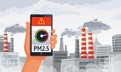 Air Pollution Alert. Pm2.5 Alerts Meter Smartphone Notification, Dirty Air And Dirty Environment Vec poster