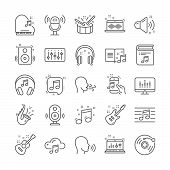 Music Line Icons. Set Of Vinyl Record, Acoustic Guitar, Musical Note Icons. Jazz Saxophone, Drums Wi poster