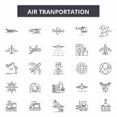 Air Transportation Line Icons, Signs Set, Vector. Air Transportation Outline Concept, Illustration:  poster