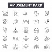 Amusement Park Line Icons, Signs Set, Vector. Amusement Park Outline Concept, Illustration: Park, Fu poster