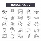 Bonus Line Icons, Signs Set, Vector. Bonus Outline Concept, Illustration: Bonus, Business, Money, Pr poster