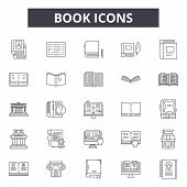 Book Line Icons, Signs Set, Vector. Book Outline Concept, Illustration: Education, Library, Book, Le poster