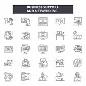 Business Support And Networking Line Icons, Signs Set, Vector. Business Support And Networking Outli poster