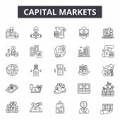 Capital Markets Line Icons, Signs Set, Vector. Capital Markets Outline Concept, Illustration: Busine poster