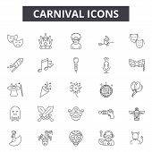 Carnival Line Icons, Signs Set, Vector. Carnival Outline Concept, Illustration: Carnival, Party, Dem poster