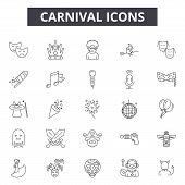 Carnival Line Icons, Signs Set, Vector. Carnival Outline Concept, Illustration: Carnival, Party, Dem poster