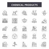 Chemicals Products Line Icons, Signs Set, Vector. Chemicals Products Outline Concept, Illustration:  poster