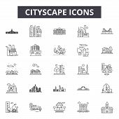 Cityscape Line Icons, Signs Set, Vector. Cityscape Outline Concept, Illustration: Urban, Cityscape,  poster