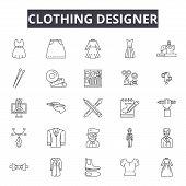 Clothing Designer Line Icons, Signs Set, Vector. Clothing Designer Outline Concept, Illustration: Fa poster