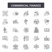 Commercial Finance Line Icons, Signs Set, Vector. Commercial Finance Outline Concept, Illustration:  poster