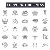 Corporate Business Line Icons, Signs Set, Vector. Corporate Business Outline Concept, Illustration:  poster