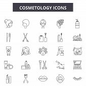 Cosmetology Line Icons, Signs Set, Vector. Cosmetology Outline Concept, Illustration: Cosmetology, C poster