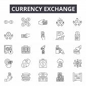 Currency Exchange Line Icons, Signs Set, Vector. Currency Exchange Outline Concept, Illustration: Cu poster