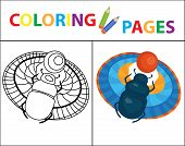 Coloring Book Page. Scarab Beetle. Sketch Outline And Color Version. Coloring For Kids. Childrens Ed poster
