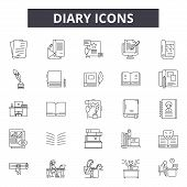 Diary Line Icons, Signs Set, Vector. Diary Outline Concept, Illustration: Diary, Book, Page, Paper,  poster