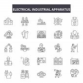 Electrical Industrial Apparatus Line Icons, Signs Set, Vector. Electrical Industrial Apparatus Outli poster