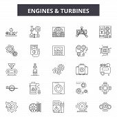 Engines And Turbines Line Icons, Signs Set, Vector. Engines And Turbines Outline Concept, Illustrati poster