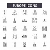 Europe Line Icons, Signs Set, Vector. Europe Outline Concept, Illustration: Europe, Country, Europea poster
