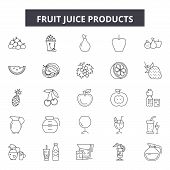 Fruit Juice Products Line Icons, Signs Set, Vector. Fruit Juice Products Outline Concept, Illustrati poster